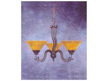 Toltec Lighting Wave Bronze & Tiger Glass Three-Light 28.5'' Wide Chandelier