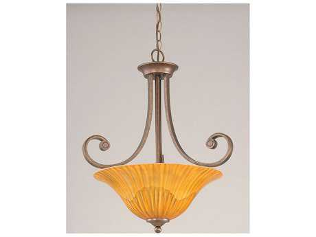 Toltec Lighting Curl Bronze & Tiger Glass Three-Light Pendant