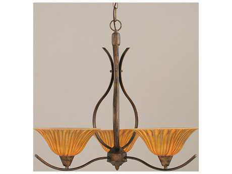 Toltec Lighting Swoop Bronze & Tiger Glass Three-Light 23.5'' Wide Chandelier