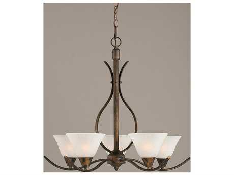 Toltec Lighting Swoop Bronze & White Marble Glass Five-Light 23.25'' Wide Chandelier
