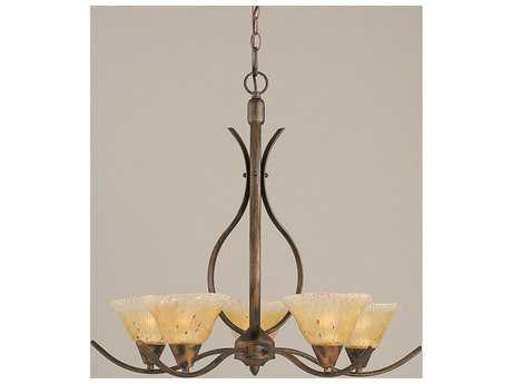 Toltec Lighting Swoop Bronze & Amber Crystal Glass Five-Light 23.25'' Wide Chandelier