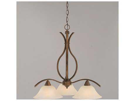 Toltec Lighting Swoop Bronze & Amber Marble Glass Three-Light 22.5'' Wide Chandelier
