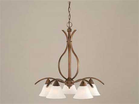 Toltec Lighting Swoop Bronze & White Marble Glass Five-Light 23.5'' Wide Chandelier