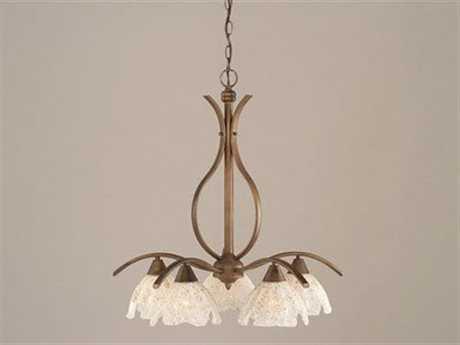 Toltec Lighting Swoop Bronze & Gold Ice Glass Five-Light 23.5'' Wide Chandelier