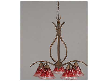 Toltec Lighting Swoop Bronze & Raspberry Crystal Glass Five-Light 23.5'' Wide Chandelier
