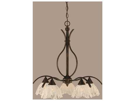 Toltec Lighting Swoop Bronze & Italian Ice Glass Five-Light 26.25'' Wide Chandelier