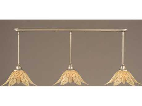 Toltec Lighting Brushed Nickel & Vanilla Leaf Glass Three-Light Island Light