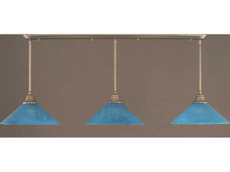 Toltec Lighting Brushed Nickel & Blue Italian Glass Three-Light Island Light