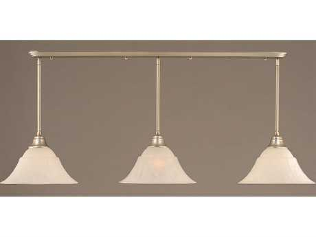 Toltec Lighting Brushed Nickel & White Marble Glass Three-Light Island Light