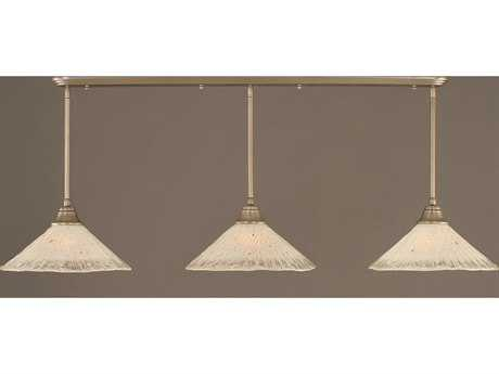 Toltec Lighting Brushed Nickel & Frosted Crystal Glass Three-Light Island Light