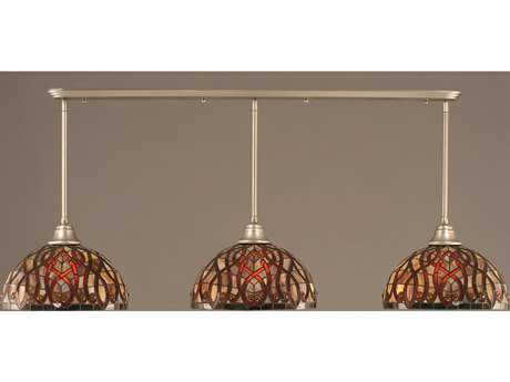 Toltec Lighting Brushed Nickel & Persian Nites TiffGlass Three-Light Island Light