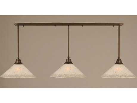 Toltec Lighting Bronze & Frosted Crystal Glass Three-Light Island Light