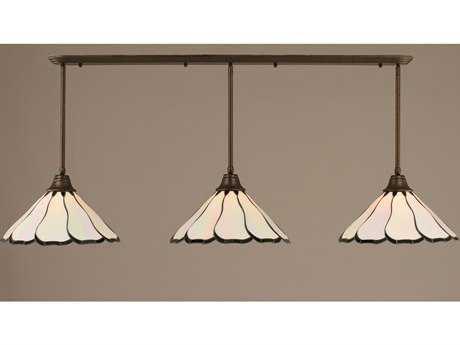 Toltec Lighting Bronze & Pearl Flair TiffGlass Three-Light Island Light