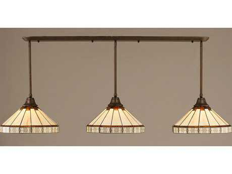 Toltec Lighting Bronze & Honey with Brown Mission TiffGlass Three-Light Island Light
