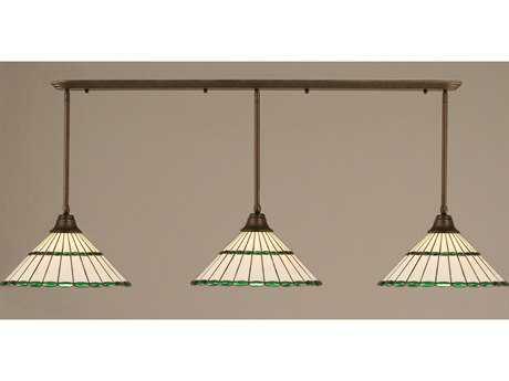 Toltec Lighting Bronze & Honey Glass with Green Jewels TiffGlass Three-Light Island Light