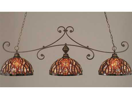 Toltec Lighting Curl Bronze & Persian Nites Tiffany Glass Three-Light Island Light