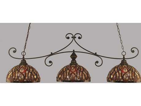 Toltec Lighting Curl Dark Granite & Persian Nites Glass Three-Light Island Light