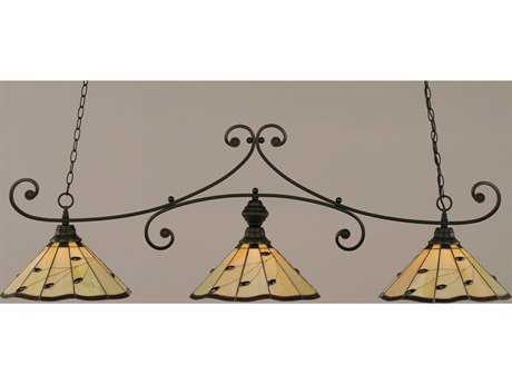Toltec Lighting Curl Matte Black & Autumn Leaves Tiffany Glass Three-Light Island Light