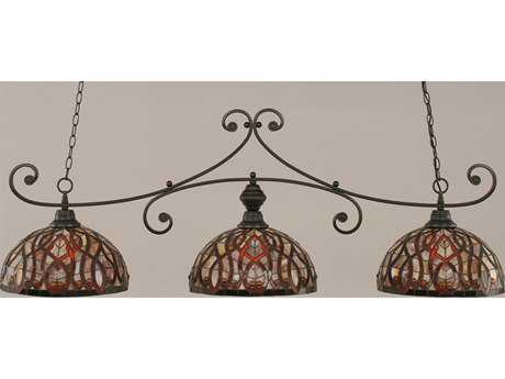 Toltec Lighting Curl Matte Black & Persian Nites Glass Three-Light Island Light