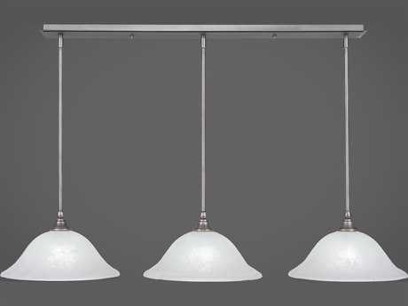 Toltec Lighting Any Brushed Nickel with White Marble Glass Three-Light 45'' Long Island Light