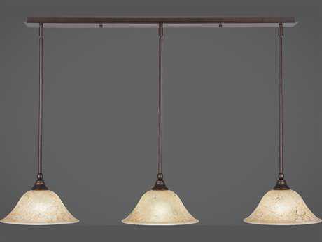 Toltec Lighting Any Bronze with Italian Marble Glass Three-Light 41.5'' Long Island Light