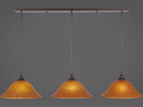 Toltec Lighting Any Bronze with Tiger Glass Three-Light 45'' Long Island Light