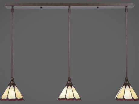 Toltec Lighting Any Bronze with Honey & Burgundy Flair Tiffany Glass Three-Light 38.5'' Long Island Light