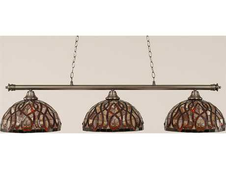 Toltec Lighting Oxford Brushed Nickel & Persian Nites Glass Three-Light Island Light