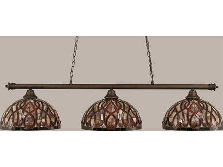 Toltec Lighting Oxford Bronze & Persian Nites Glass Three-Light Island Light