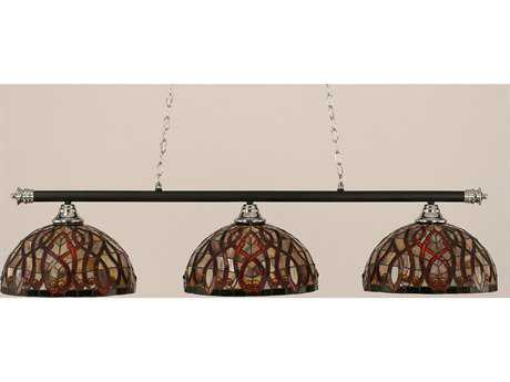 Toltec Lighting Oxford Chrome + Matte Black with Persian Nites Glass Three-Light Island Light