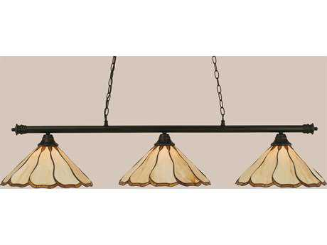 Toltec Lighting Oxford Matte Black & Honey with Brown Flair Tiffany Glass Three-Light Island Light