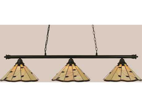 Toltec Lighting Oxford Matte Black & Autumn Leaves Tiffany Glass Three-Light Island Light