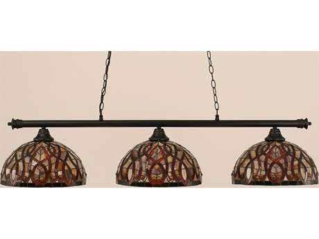 Toltec Lighting Oxford Matte Black & Persian Nites Glass Three-Light Island Light