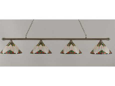 Toltec Lighting Oxford Brushed Nickel & Green Sunray Glass Four-Light Island Light