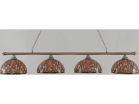 Toltec Lighting Oxford Brushed Nickel & Persian Nites Glass Four-Light Island Light