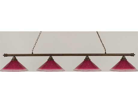 Toltec Lighting Oxford Bronze & Wine Crystal Glass Four-Light Island Light