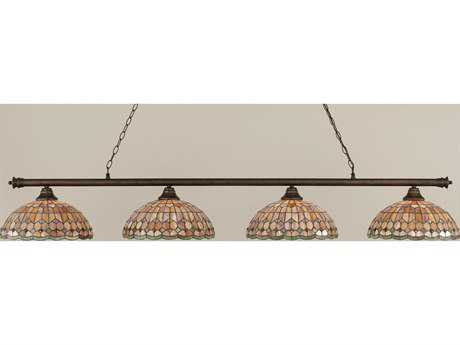 Toltec Lighting Oxford Bronze & Rosetta Tiffany Glass Four-Light Island Light