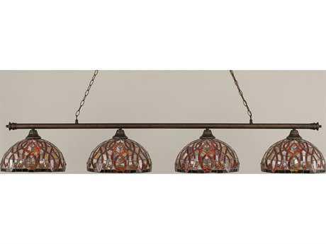 Toltec Lighting Oxford Bronze & Persian Nites Glass Four-Light Island Light