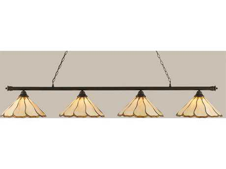 Toltec Lighting Oxford Dark Granite & Honey with Brown Flair Tiffany Glass Four-Light Island Light