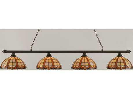 Toltec Lighting Oxford Dark Granite & Butterscotch Tiffany Glass Four-Light Island Light