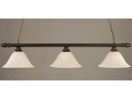 Toltec Lighting Round Bronze & Alabaster Swirl Glass Three-Light Island Light