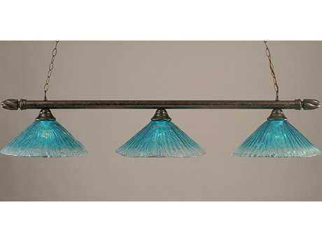 Toltec Lighting Round Bronze & Teal Crystal Glass Three-Light Island Light