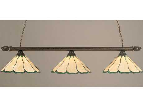Toltec Lighting Round Bronze & Honey with Hunter Green Flair Tiffany Glass Three-Light Island Light