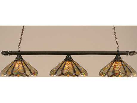Toltec Lighting Round Bronze & Paradise Tiffany Glass Three-Light Island Light