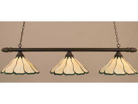 Toltec Lighting Round Dark Granite & Honey with Hunter Green Flair Tiffany Glass Three-Light Island Light