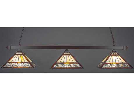 Toltec Lighting Square Dark Granite & Greek Key Tiffany Glass Three-Light Island Light