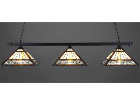 Toltec Lighting Square Matte Black & Greek Key Tiffany Glass Three-Light Island Light