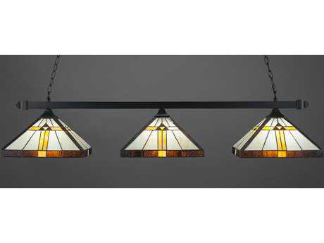 Toltec Lighting Square Matte Black with Honey Brown & Amber Tiffany Glass Three-Light Island Light