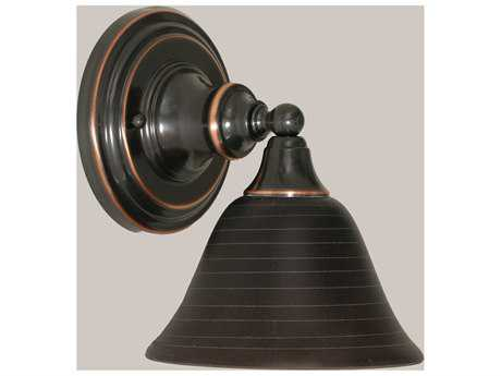 Toltec Lighting Black Copper & Charcoal Spiral Glass Wall Sconce