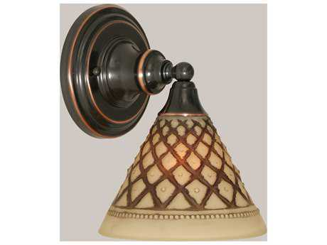 Toltec Lighting Black Copper & Chocolate Icing Glass Wall Sconce